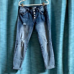 KanCan stretchy distressed button fly jeans